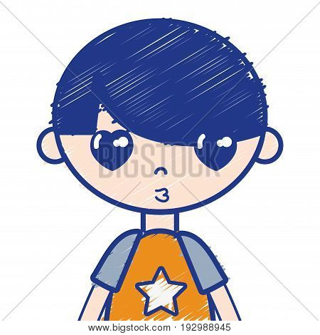 tender boy child with pijama and hairstyle vector illustration