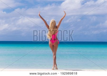 Beautiful blonde with long hair on a tropical beach with his back to the viewer. Summer vacation concept.