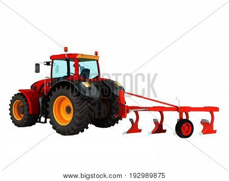 Tractor Plowing Red 3D Render On White Background No Shadow