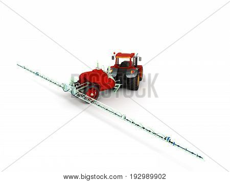 Watering Of Crops By Tractor 3D Render On White Background
