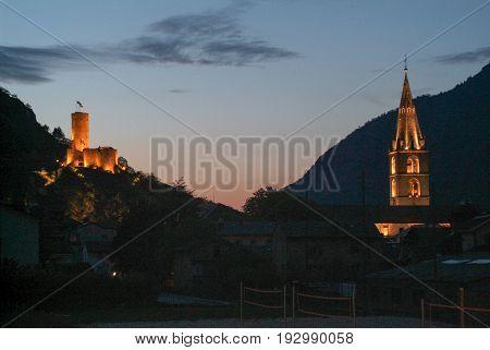 Fort Bâtiaz And Notre-dame De La Visitation Church At Martigny