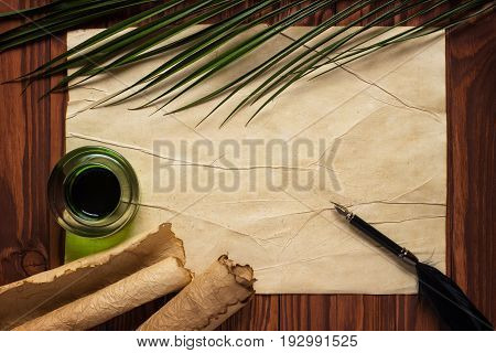 White Goose Feather And Inkwell, Scroll On The Background Table