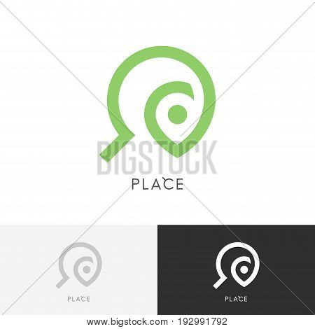 Place search logo - address pointer and magnifier symbol. Travel agency and destination vector icon.