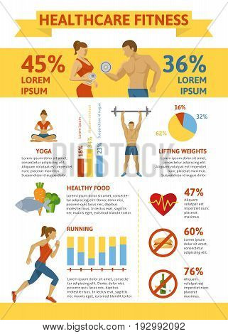 Flat healthy lifestyle infographic concept with fitness proper nutrition sport trainings and exception of harmful habits vector illustration
