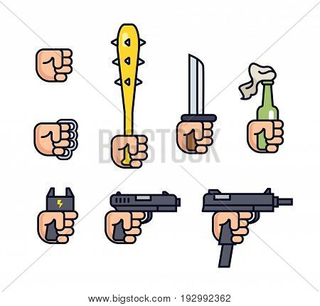 Cold weapon and firearms collection. Weapons in the hand. Vector line icon set for mobile game. Fist, brass knuckles, baseball bat with thorns, knife, shocker, gun, machine gun. Infographic