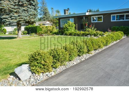 Front yard lawn decorated with green bushes along asphalt driveway leading to the house