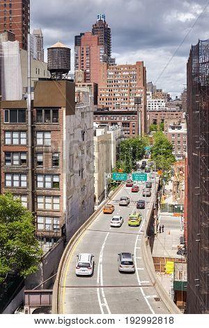New York, Usa - May 26, 2017: Cars Leave Ed Koch Queensboro Bridge Entering Manhattan. Bridge Connec