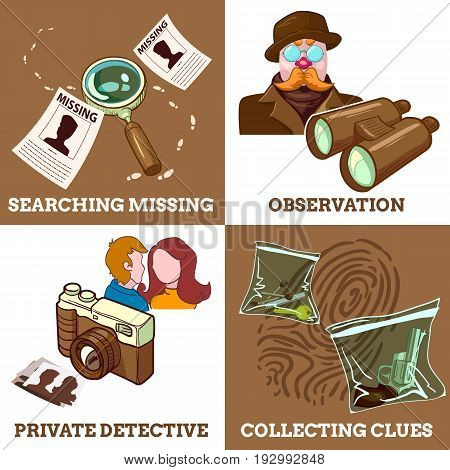 Detective service compositions with private eye search for missings observation and collecting clues isolated vector illustration