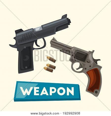 Weapon. Cartoon vector illustration. Pistols and bullets