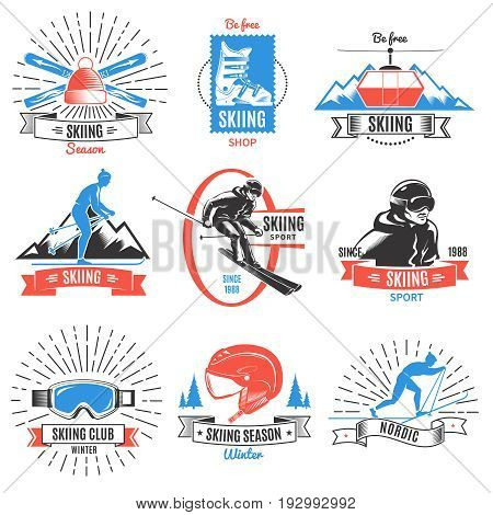 Set of nine isolated colored vintage nordic skiing labels with sportsmen and equipment symbols and captions vector illustration