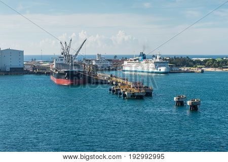Toamasina Madagascar - December 22 2017: Ships in the port of Toamasina (Tamatave) Madagascar. Toamasina is the nation's chief port and is connected by rail with Antananarivo.