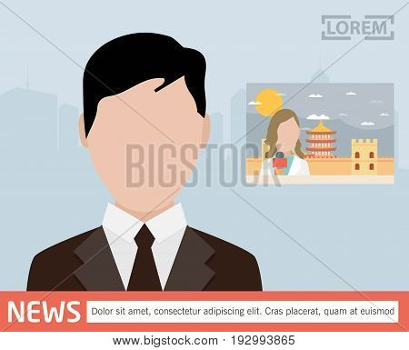 Broadcast news. Vector media on television concept.