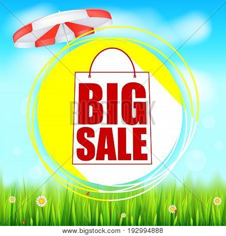 Summer selling ad banner. Big sale holiday discounts. Yellow sun, sun unbrella, green field, white clouds and blue sky. Template for shopping, advertising signboard, price reduction poster or banner.