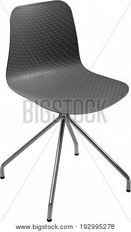 Gray color plastic chair, modern designer. Swivel chair isolated on white background. furniture and interior.