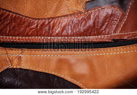 surface of leather and zipper with the background.