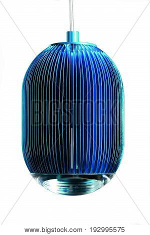 elliptic metal blue hanging lamp isolated on white. Modern designer lamp for interiors