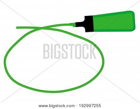 Single green highlighter pen with hand drawn green circle to highlight text.
