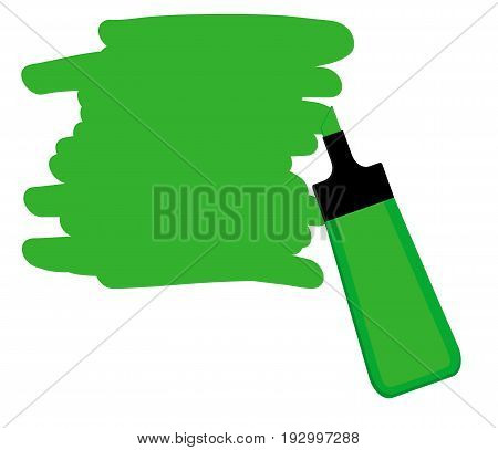 Single green highlighter pen with hand drawn area to highlight text.