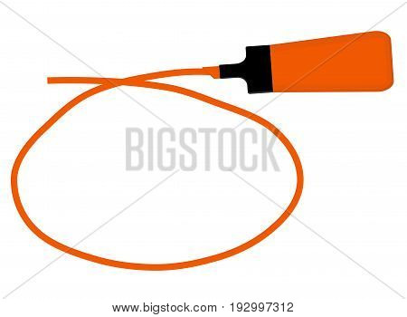 Single orange highlighter pen with hand drawn orange circle to highlight text.