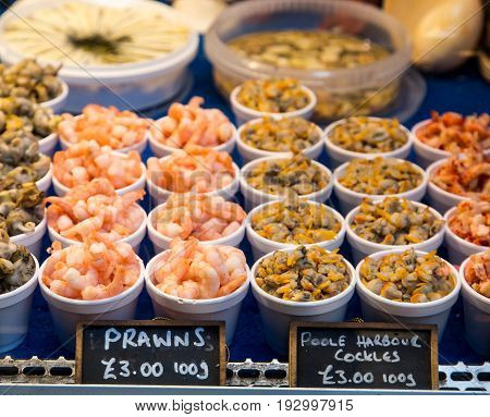 Prawns and Cockles in Market in London