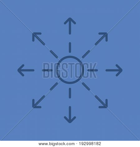 Spreading color linear icon. Distribution abstract metaphor. Thin line outline symbols on color background. Vector illustration