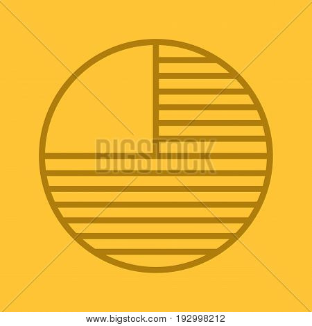 Circle diagram with missing part. Color linear icon. Portion abstract metaphor. Thin line outline symbols on color background. Vector illustration