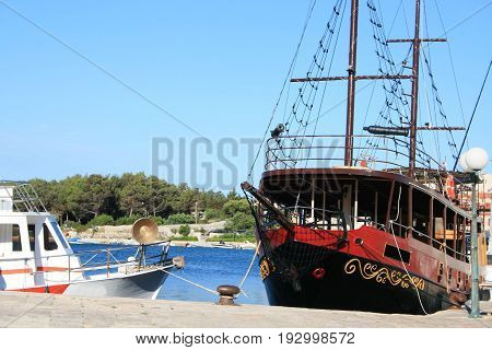 boat in port of Cres, island Cres, Croatia