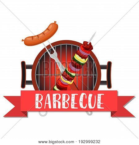 meal cooked on the grill. Tools for grilling. Barbecue pan with fork. bbq party banner. Vector illustration in flat style