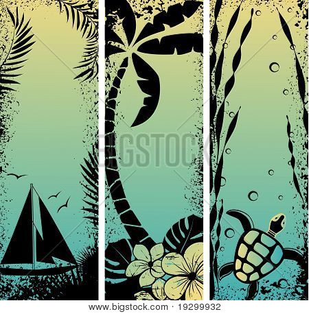 set sea grunge banners. Vector illustration