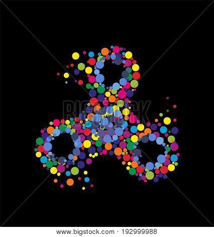 Creative abstract hand spinner fidget spinner. Vector modern flat style cartoon colorfull illustration icon design. Isolated on black background.Fidget spinner concept print design for t-shirtposter