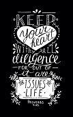 Hand lettering Keep your heart. Biblical background. Christian poster. New Testament. Scripture. Card. Modern calligraphy Proverbs poster
