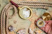 Old vintage retro compass magnifying glass on ancient world map. Vintage still life. Travel geography navigation concept background poster
