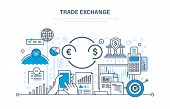 Trade exchange, trading, protection of trades, growth of finance, economic indicators, interaction with clients, transaction. Illustration thin line design of vector doodles, infographics elements. poster