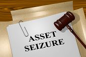 "3D illustration of ""ASSET SEIZURE"" title on legal document poster"
