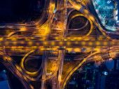 Bangkok Expressway top view Top view over the highwayexpressway and motorway at night Aerial view interchange of a city Shot from drone Expressway is an important infrastructure in Thailand poster