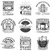 Vector set of classic theater isolated labels, logo and emblems. Black and white theater symbols and design elements. Drama masks, harp, tickets, theater drapes and stage curtains. poster