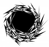 Rough edgy textured geometric element. Abstract black and white shattered shape. poster