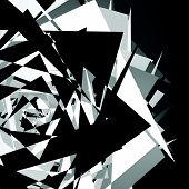 Chaotic messy composition abstract geometric illustration. Shattered edgy random shapes. poster