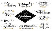 Wedding Hand Lettering Phrases Vector Set, She Said Yes, Mr. & Mrs., Here Comes the Bride, I Do Cherish you, Just Married, Love Never Fails, Happily Ever After & More, 9 designs in collection poster