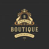 Luxury monogram logo template vector object for logotype or badge Design. Trendy vintage royal ornament frame illustration, good for fashion boutique, alcohol or hotel brand. poster