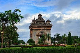 Patuxai the victory war monument in the centre of Vientiane Laos