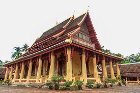 beautiful architecture buddhist temple at Wat Si Saket Vientiane Laos.