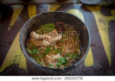 Thai Blood Soup Noodle In The Coconut Shell Bowl, Tradition Food