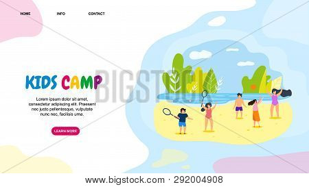Horizontal Flat Banner Kids Camp Active Leisure. Vector Illustration On Color Background. Teenagers