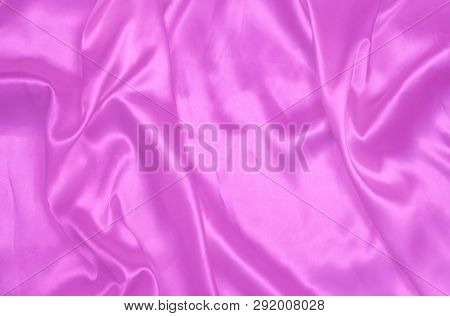 Purple Smooth Satin Or Silk Texture Background. Elegant Cloth Material Textiles. White Fabric Abstra