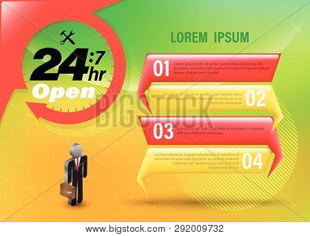 24 Hr Open Banner On Business Concept Option. Vector Illustration For Business Emergency Services.