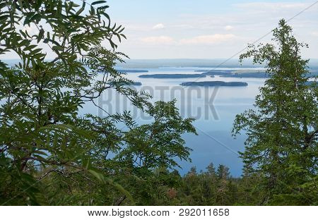 Scenic Summer Landscape View Over The Lake Pielinen From The Top Of The Ukkokoli, A Fell At The Koli