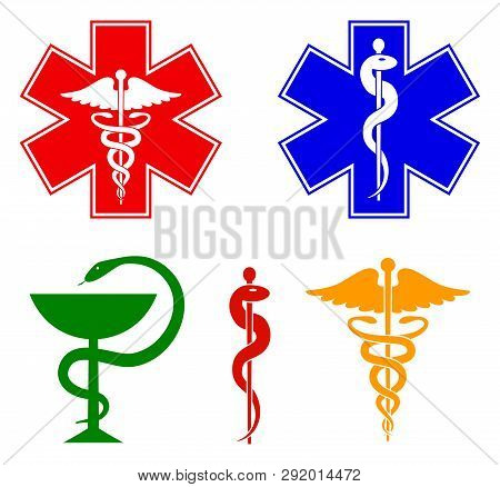 Medical International Symbols Set. Star Of Life, Staff Of Asclepius, Caduceus, Bowl With A Snake. Is