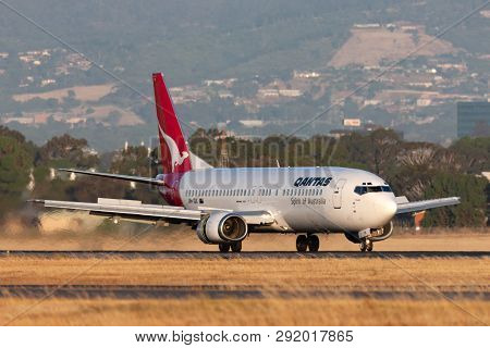Adelaide, Australia - January 5, 2013: Qantas Boeing 737-476 Commercial Aircraft On The Runway At Ad