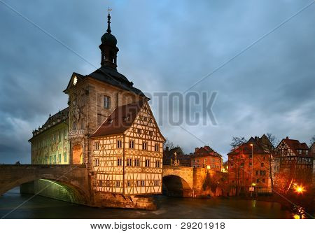 Altes Rathaus (the Old Town Hall) In Dusk. Bamberg, Bavaria.